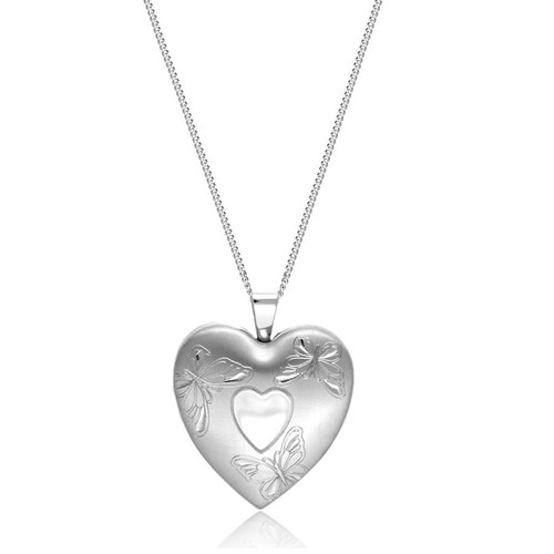 Sterling Silver Butterfly Heart 4 Picture Family Locket