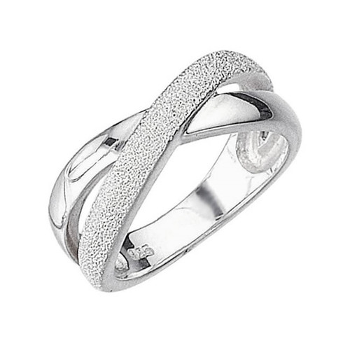 Sterling Silver Moondust Crossover Ring