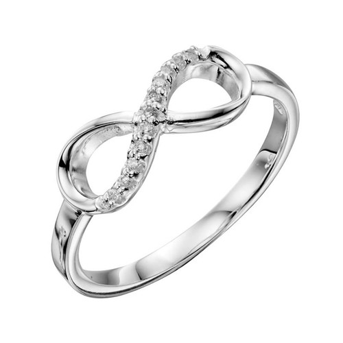 Silver Cubic Zirconia Forever Infinity Ring