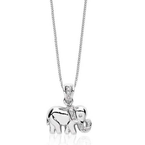 9ct White Gold Diamond Elephant Pendant