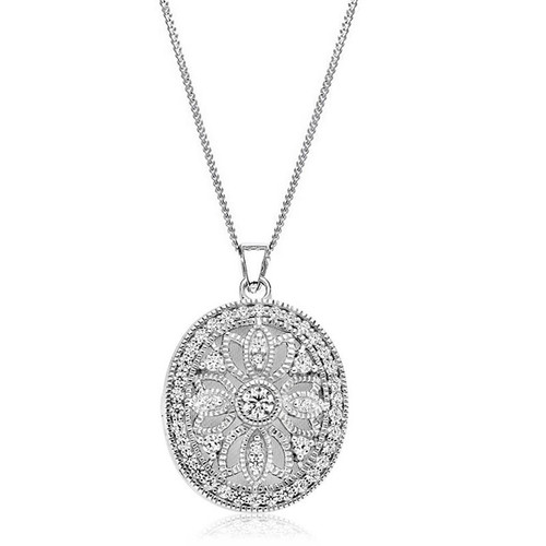 Silver Large Oval Filigree Locket Necklace