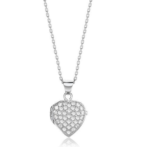 Silver Cubic Zirconia Heart Locket Necklace 1