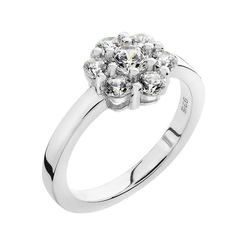 Luminous Silver Cubic Zirconia Cluster Ring