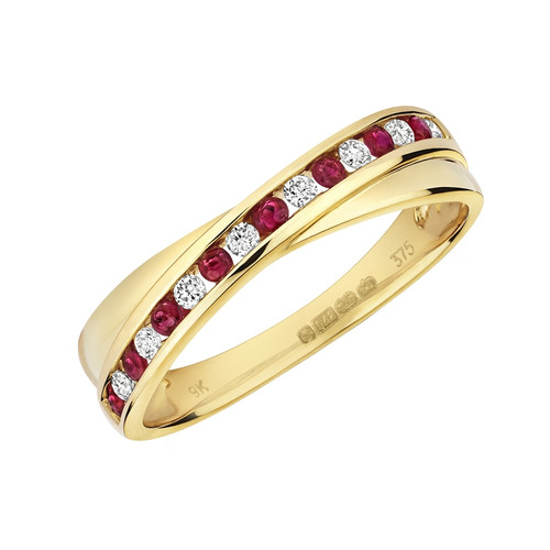 9ct Gold Ruby & Diamond Crossover Ring