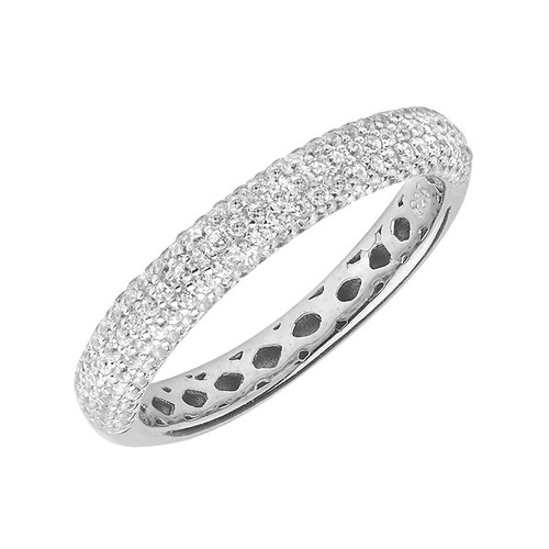 Sterling Silver Pave Cubic Zirconia Eternity Ring