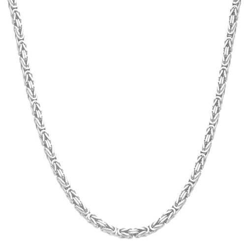 Men's Solid Silver Byzantine Kings Chain 4mm