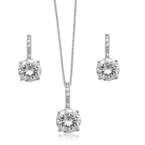 Silver Cubic Zirconia Solitaire Necklace & Earrings Set