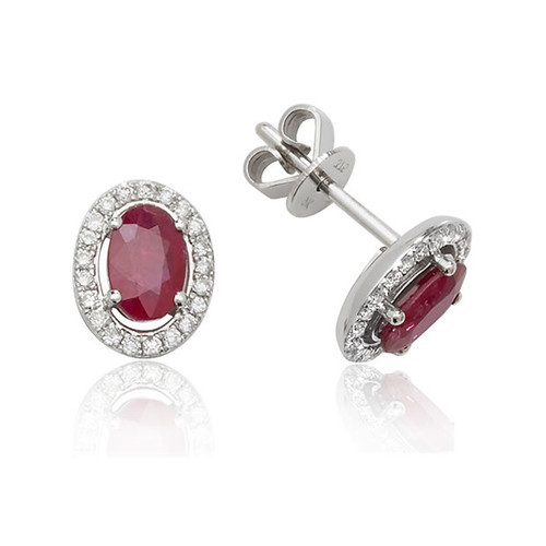 9ct White Gold Oval Ruby & Diamond Earrings