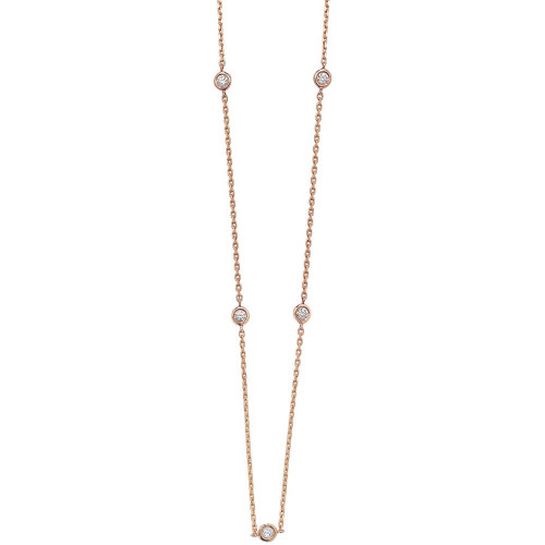 18ct Rose Gold 0.35ct Diamond Station Necklace