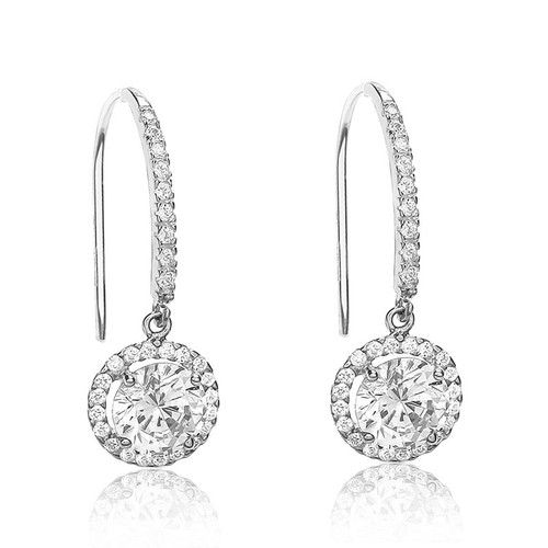 9ct White Gold Cubic Zirconia Halo Drop Earrings