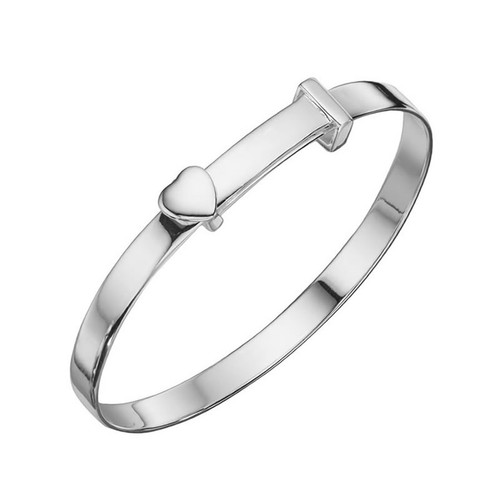 Sterling Silver Heart Expandable Baby Bangle