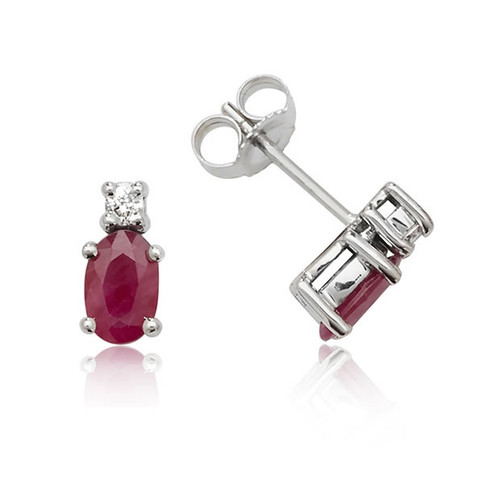 9ct White Gold Oval Ruby & Diamond Stud Earrings
