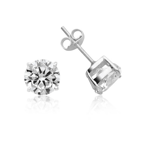 Silver Round Cubic Zirconia Stud Earrings 10mm