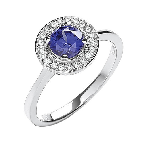 Sterling Silver Blue Cubic Zirconia Halo Ring