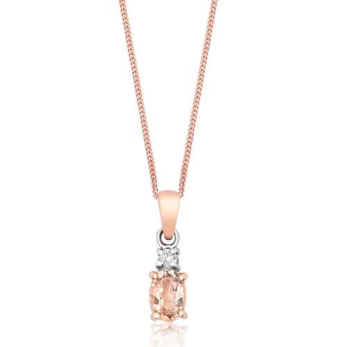 9ct Rose Gold Morganite & Diamond Pendant 2