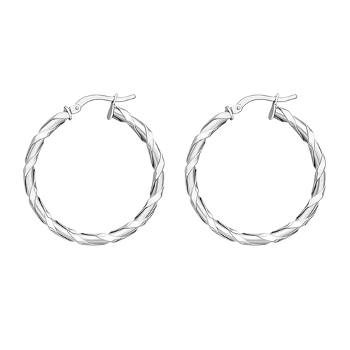 9ct White Gold Ribbon Twist Hoop Earrings
