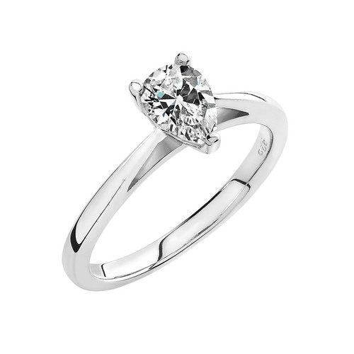 Luminous Silver Pear Shape Solitaire Ring