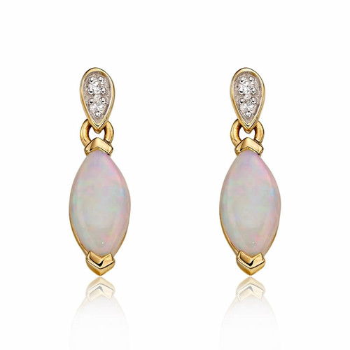 9ct Gold Opal & Diamond Drop Earrings