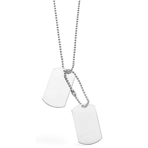 """Men's 1oz Solid Silver Dog Tags Necklace 24"""""""