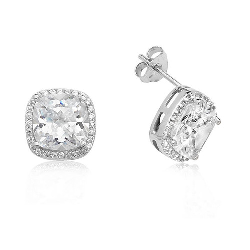 Silver Cushion Cut Cubic Zirconia Halo Stud Earrings