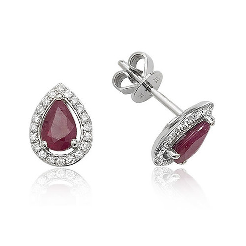 9ct White Gold Ruby & Diamond Pear Halo Stud Earrings