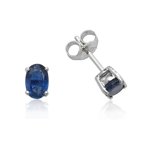 9ct White Gold Oval Sapphire Stud Earrings