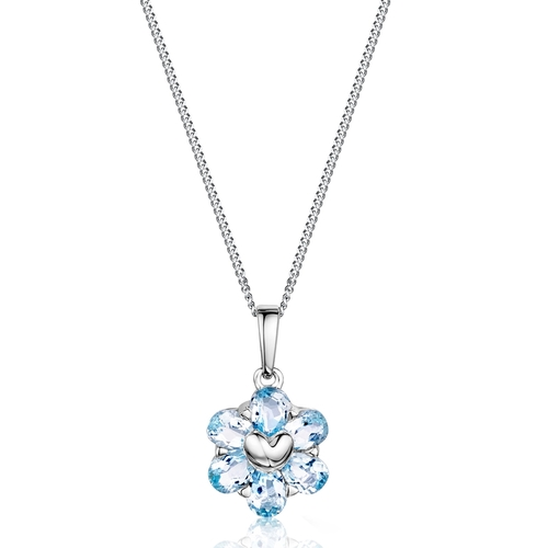 9ct White Gold Blue Topaz Pendant 1