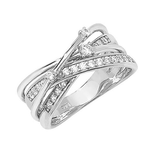Silver Cubic Zirconia Orbit Crossover Ring