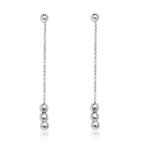 Sterling Silver Long Bead Drop Earrings