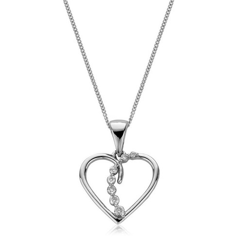 9ct White Gold Diamond Heart Pendant 1