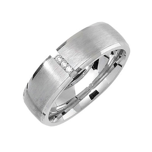 Sterling Silver 3 Stone Wedding Ring 6mm