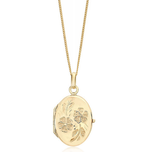9ct Gold Oval Flower Detail Locket