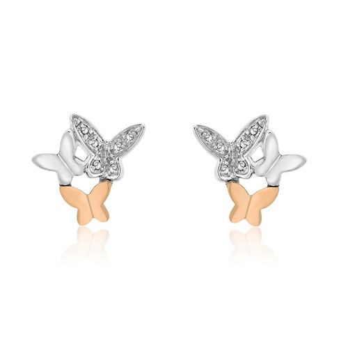 9ct Rose & White Gold Diamond Butterfly Stud Earrings