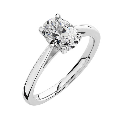 Luminous Silver Oval Solitaire Ring