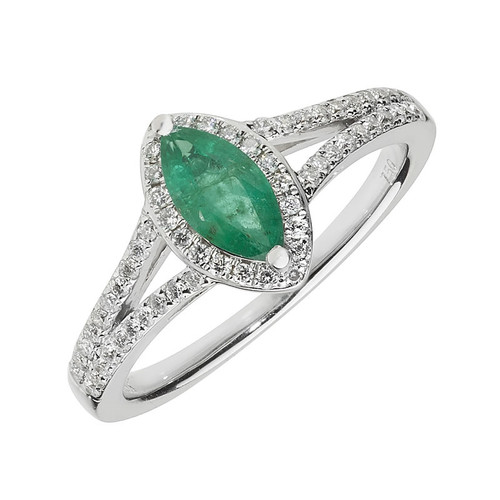9ct White Gold Emerald & Diamond Marquise Ring