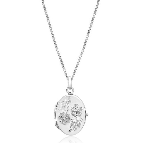 9ct White Gold Oval Flower Locket