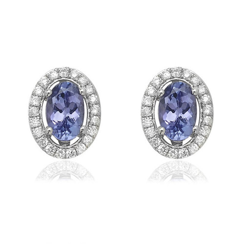 9ct White Gold Diamond Tanzanite Halo Stud Earrings