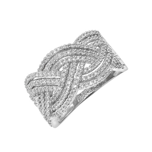 9ct White Gold 0.40ct Diamond Crossover Ring