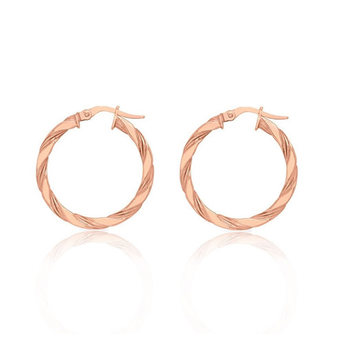 9ct Rose Gold Twist Hoop Earrings 25mm