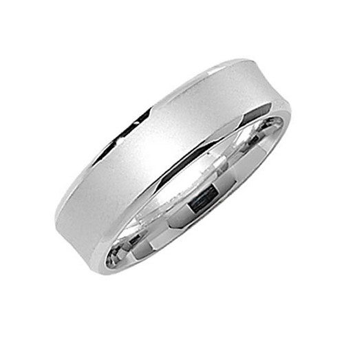 Sterling Silver Satin Court Wedding Ring 6mm