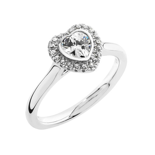 Luminous Silver Heart Halo Ring
