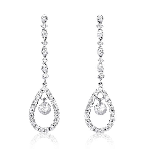 9ct White Gold Cubic Zirconia Long Droplet Earrings