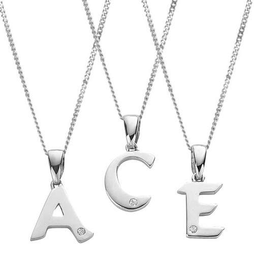 9ct White Gold Diamond Initial Pendant