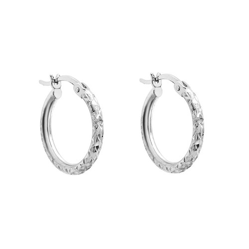 9ct White Gold Small Diamond Cut Hoop Earrings
