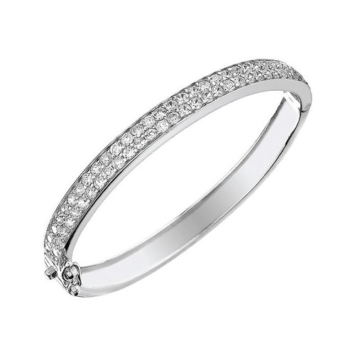 Silver Two Row Cubic Zirconia Baby Bangle