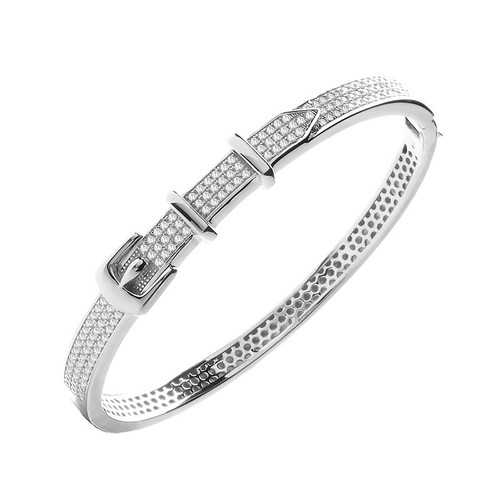 Sterling Silver Cubic Zirconia Belt Buckle Bangle