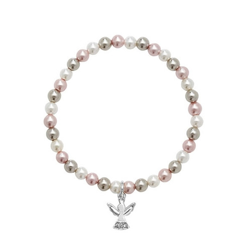 Children's Sterling Silver Pearl Angel Charm Bracelet