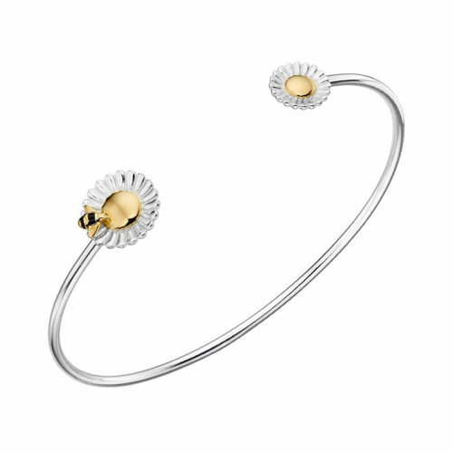 Sterling Silver Bee Sunflower Torque Bangle