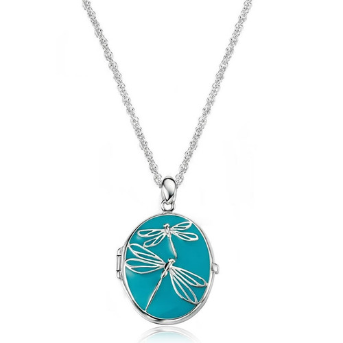 Silver Large Turquoise Dragonfly Oval Locket