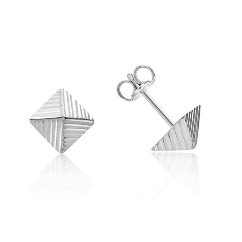 9ct White Gold Pyramid Stud Earrings